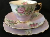 50's hand decorated tea cup saucer & plate